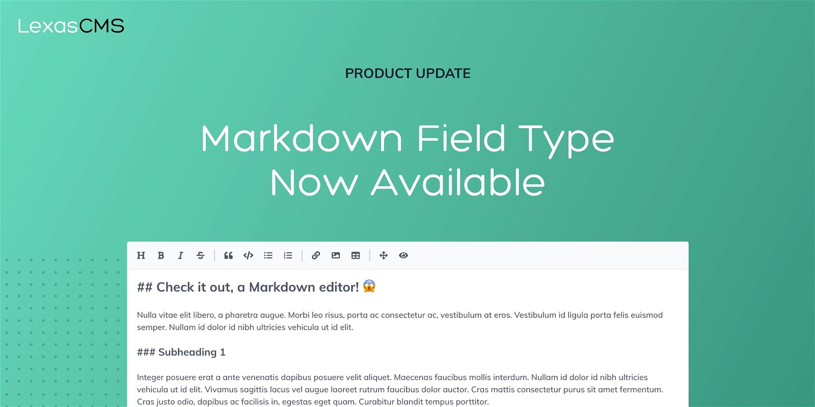 Cover for Markdown field type now available