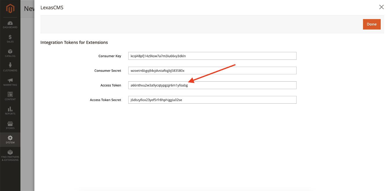 Copy access token for Magento 2 integration