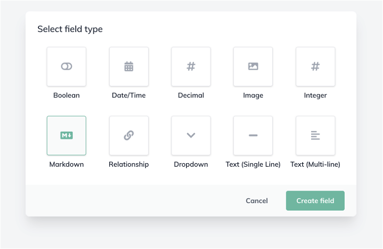 Modal showing new Markdown field type