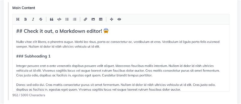Screenshot showing Markdown editor